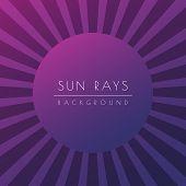 Sun Or Summer Sunburst. Purple Shiny Ray Beam Background. Stock Vector Illustration poster