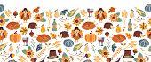 Thanksgiving Seamless Vector Border. Autumn Food Roast Turkey Corn Wine Pumpkin Family Dinner Greeti poster