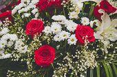 Large Beautiful Bouquet Of Mixed Flowers. Floral Shop Concept . Beautiful Fresh Cut Bouquet. Flowers poster