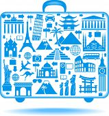 the concept of traveling around the world. Famous international landmarks. poster