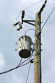 foto of utility pole  - a utility pole with wiring and transformer - JPG