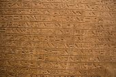 Ancient Egyptian Hieroglyphs On The Wall In Cairo Museum poster
