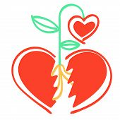 Vector Metaphor Of Abstract Split Heart, Between The Parts Which Sprouted Sprout Of New Heart-flower poster