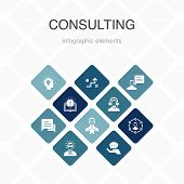 Consulting Infographic 10 Option Color Design. Expert, Knowledge, Experience, Consultant Simple Icon poster