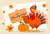 Happy Thanksgiving. Thanksgiving Turkey Pointing On Wooden Sign With Greetings. Vector Illustration  poster