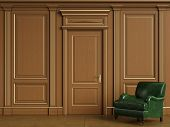 Classic Green Armcahir In Classic Interior With Copy Space.classic Wooden Boiserie With Gilded Mould poster