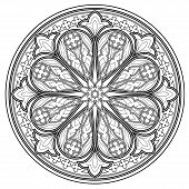 Black And White Page For Coloring Book. Fantasy Drawing Of Beautiful Gothic Rose Window With Stained poster