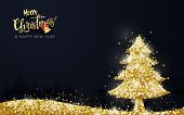 Shining Gold Christmas Tree On Dark Blue Background. Christmas Banner, Posters, Cards And Website poster