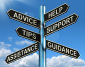 stock photo of faq  - Advice Help Support And Tips Signpost Shows Information And Guidance - JPG