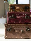 Vintage Travel Suitcases, Three Stacked Suitcases - Image poster