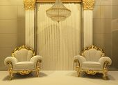 stock photo of pilaster  - Luxury armchairs in royal interior apartment - JPG