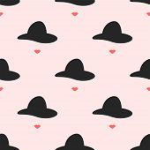 Seamless Pattern With Repeating Silhouettes Of Lips And Hats. Repeated Feminine Print. Simple Vector poster