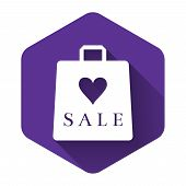 White Shoping Bag With An Inscription Sale Icon Isolated With Long Shadow. Handbag Sign. Woman Bag I poster