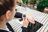 Top View Of Businesswoman Using Smartphone And Smartwatch For Conversation With Customers Digital So poster