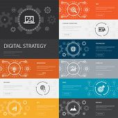 Digital Strategy Infographic 10 Line Icons Banners. Internet, Seo, Content Marketing, Mission Simple poster