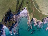 Aerial View Of Portgisky Cove Cornwall England Between Pentewan And Mevagissey poster