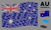 Waving Australia Flag. Vector Care Hands Elements Are Combined Into Geometric Australia Flag Composi poster