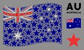 Waving Australia State Flag. Vector Fireworks Star Pictograms Are Combined Into Mosaic Australia Fla poster