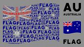 Waving Australia Flag. Vector Flag Texts Are Organized Into Conceptual Australia Flag Abstraction. P poster