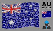 Waving Australia State Flag. Vector Engineer Pictograms Are Combined Into Conceptual Australia Flag  poster