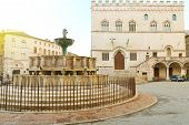 Perugia Main Square Piazza Iv Novembre With Old Town Hall And Monumental Fountain Fontana Maggiore,  poster