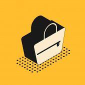 Isometric Handbag Icon Isolated On Yellow Background. Female Handbag Sign. Glamour Casual Baggage Sy poster