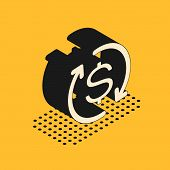 Isometric Return Of Investment Icon Isolated On Yellow Background. Money Convert Icon. Refund Sign.  poster