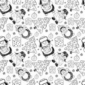 Seamless Pattern Cute Cartoon Penguins Around The Christmas Tree With Gifts. Winter Background On Ch poster