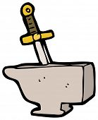 stock photo of arthurian  - cartoon sword in anvil - JPG