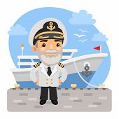 A Cartoon Smiling Captain Stands On The Pier In Front Of The Cruise Ship. Composition With A Profess poster