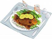 Vector illustration of fish food with vegetables and lemon on a plate and sea shells near by