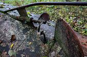 Fragment Of The Bottom Of An Old Steel Boat Lying On The Shore. There Is A Rusty Propeller, A Design poster