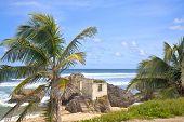 Постер, плакат: Брошенных заброшенный цемента строительство на участке пляжа Вирсавия Барбадос