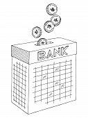 Bank Moneybox Exterior Coins Falling In The Gap Graphic Black White Sketch Illustration Vector poster