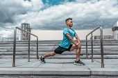 Male Athlete Doing Stretching Before Training, Lunges, Jogging Before Jogging, Summer In City, Cloud poster