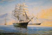 Sailing Ships In The Bay, Oil Painting On Canvas poster