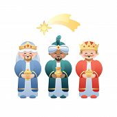 Christmas Illustration. The Three Kings Or Three Wise Men And The Bethlehem Shooting Star On White.  poster