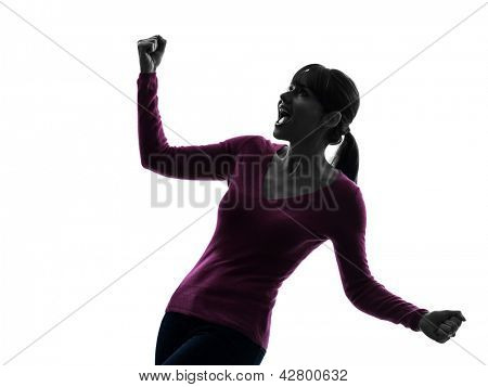 one caucasian womanarms outstreched screaming happy  in silhouette studio isolated on white background