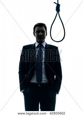 one caucasian man judge standing in front of hangman's noose in silhouette studio isolated on white background