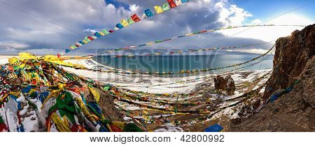 Panorama Of Lake Namtso In Tibet. 4900 M.