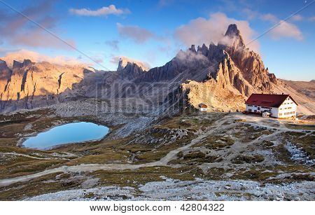 Beautiful Mountain Nature Landscape With Top Paterno In Italy Alps