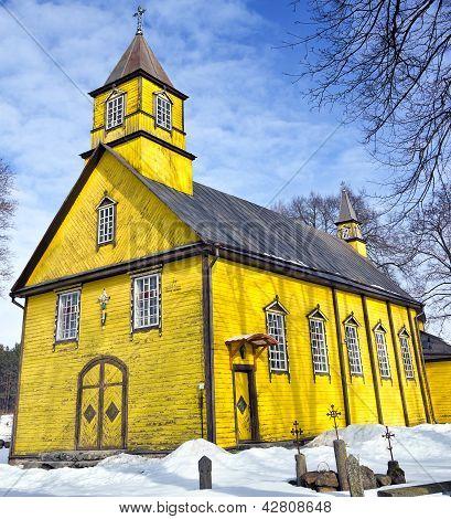 Silenai Old Wooden Yellow Church, Vilnius District, Lithuania
