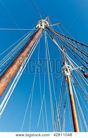 Old Schooner Mast And Rope