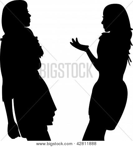 two girls talking, vector