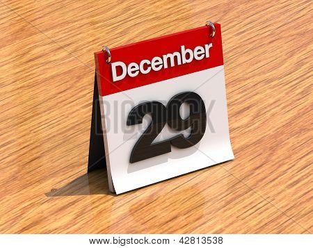 Calendar On Desk - December 29Th