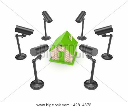 Observation cameras around 3d small house.