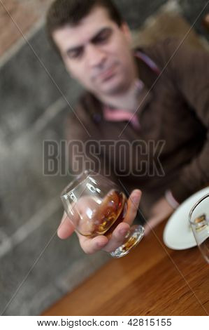 Tourist Has Degustation Of Brandy