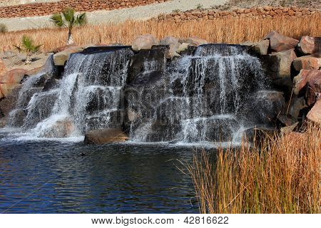 Small artificial water falls in Nevada