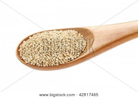 uncooked quinoa in the wooden spoon