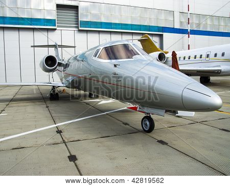 Private Jet in hangar